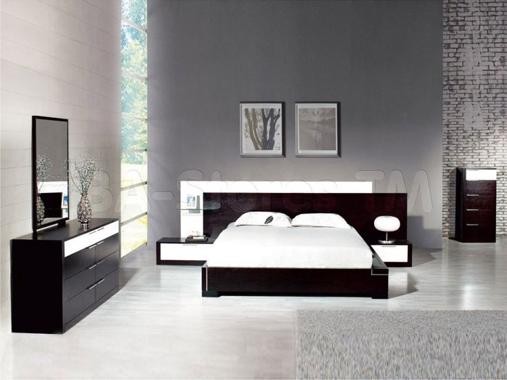 modern-bedroom-set-with-dark-wooden-furniture-and-gray-wall-paint-color-and-white-mattress-37-modern-master-or-teenage-bedroom-design-ideas-to-inspire