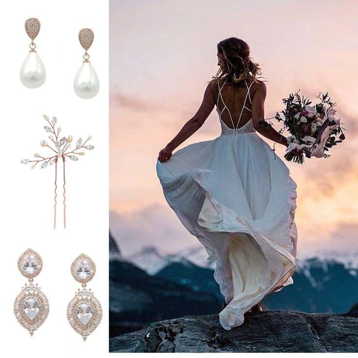 Webshop Bruidssieraden Rosegold Lange Bruiloft Bruid Vintage Oorbellen