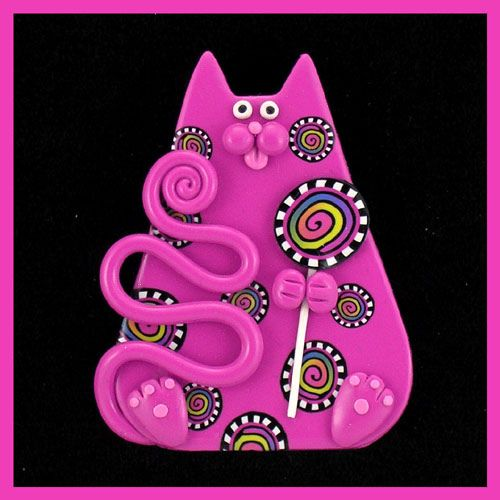 Chubby Fuchsia Carnival Cat  Lollypop by artsandcats, via Flickr