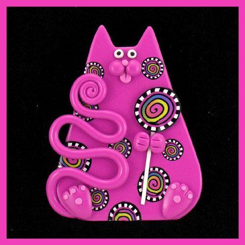 Chubby Fuchsia Carnival Cat  Lollypop by artsandcats, via Flickr