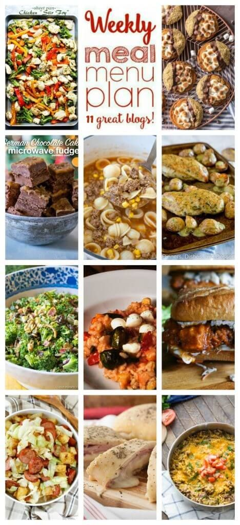 Weekly Meal Plan featuring recipes for Hamburger Soup, Buffalo Chicken Sandwiches, Sheet Pan Chicken Stir Fry, Ham and Mozzarella Cheese Stromboli, Cheeseburger Skillet Dinner, 20 Minute Kielbasa Cabbage Skillet, Sheet Pan Chicken and Roasted Potatoes, Perfect Broccoli Salad, Oven Roasted Risotto, Easy S'mores Cookies, and German Chocolate Fudge.
