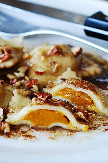 Pumpkin ravioli with brown butter sauce and pecans: