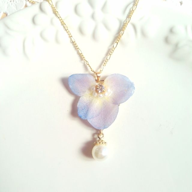 アンティークパールと紫陽花ネックレス☆パープル