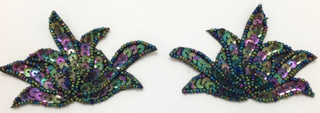 """Leaf Pair with Moonlite Sequins and Beads 3"""" x 3"""""""