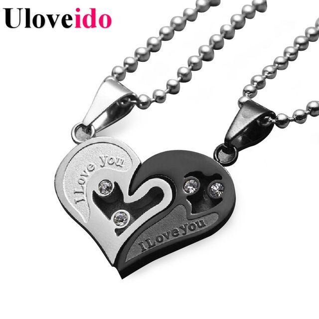 Мужская Цепь Из Нержавеющей Стали Черное Сердце Любовь Ожерелья для Пары Корейский Дамы Модные Парные Подвески Подвески Модель