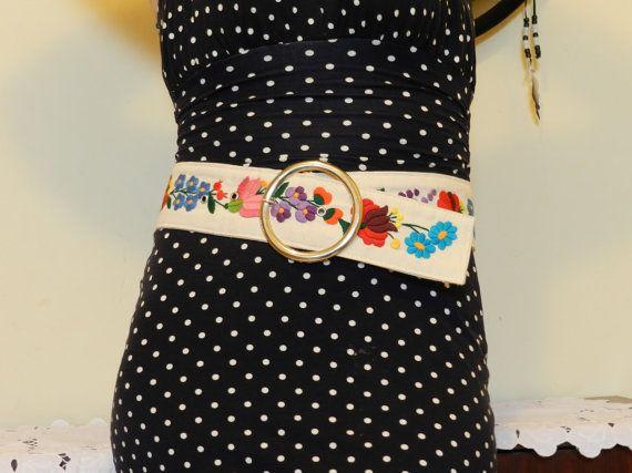 Kalocsa embroidered belt Folk art belt by Hungarianhouse on Etsy