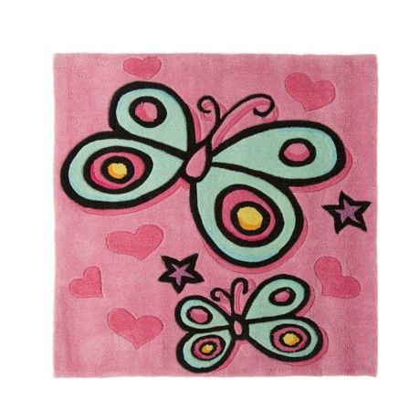 Kiddy Play Butterfly Pink Square Children's Rug Rug Size: 90cm x 90cm (2 ft 11.5 in x 2 ft 11.5 in)