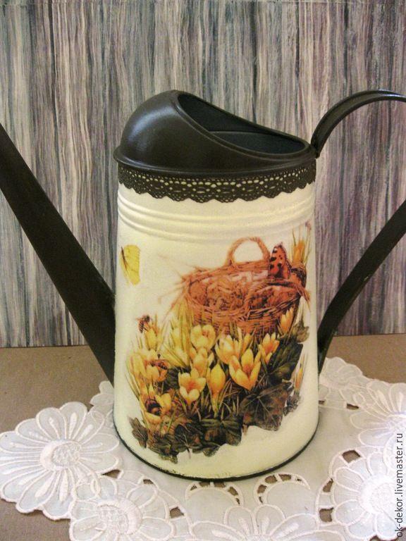 Купить Лейка Весенние цветы - лейка, лейка декупаж, лейка для полива цветов, лейка для цветов