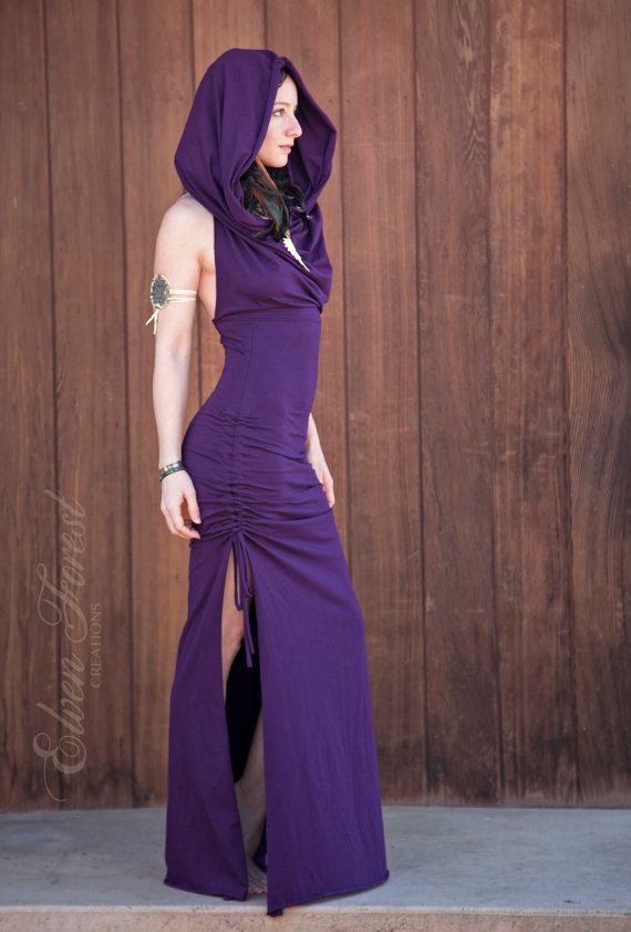 Cowl Hood Maxi Dress Elven Forest Burning Man Festival