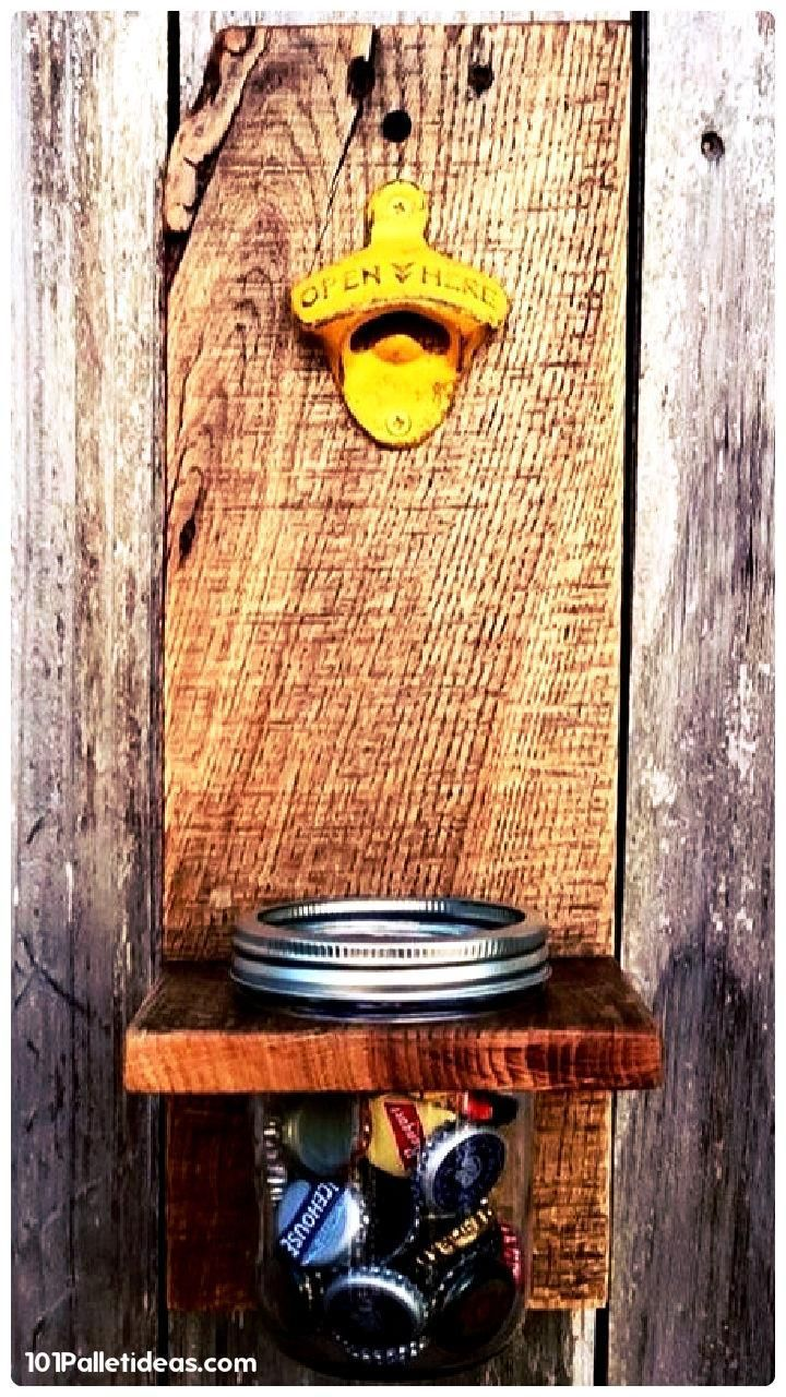 Pallet + Mason Jar Bottle Opener - 15 Top Pallet Projects You can Build at Home | 101 Pallet Ideas