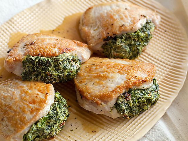 Pork Chops Stuffed with Sun-Dried Tomatoes and Spinach Recipe : Giada De Laurentiis : Food Network