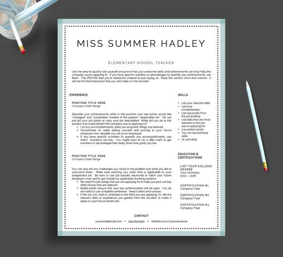Teacher Resume Template For Word And Pages By LandedDesignStudio  Teachers Resume Template