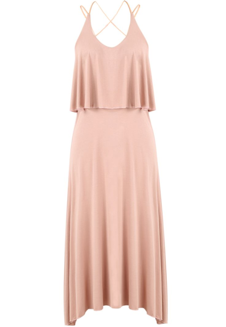 Pink Spaghetti Strap Pleated Modal Dress