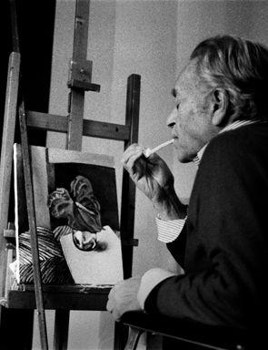 Letizia Battaglia, Renato Guttuso nel suo studio Palermo, 1985. Courtesy l'artista.