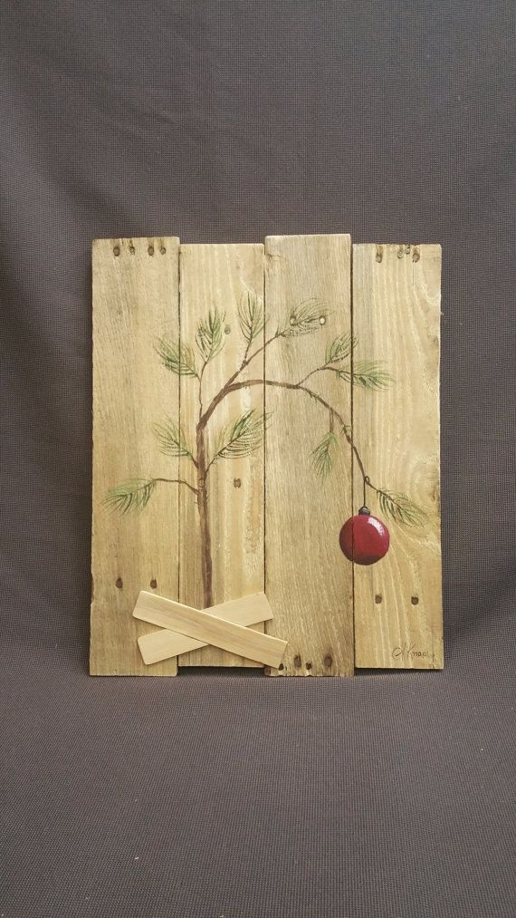 Charlie Brown Christmas tree, Hand panted Christmas decorations, Peanuts, Snoopy, Reclaimed Pallet wall Art, Christmas Gift,  Rustic Shabby