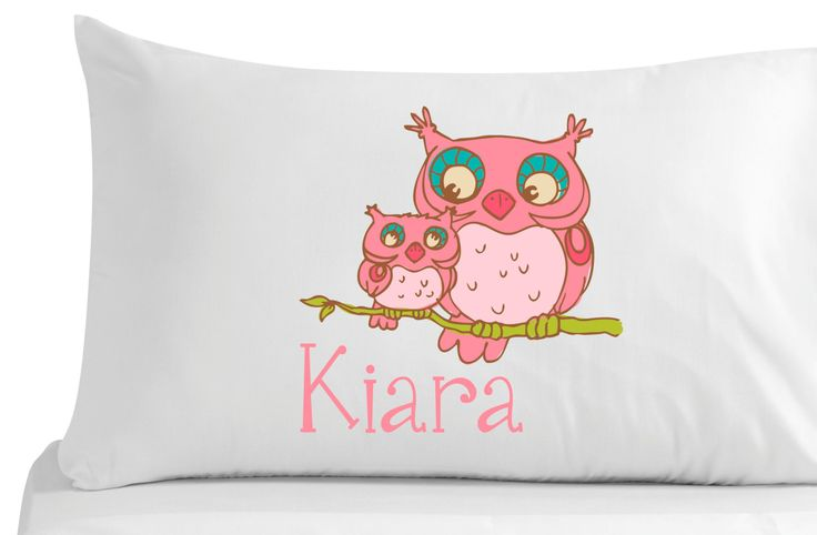 Personalized, pillow case, Cute owls bedroom decor- nursery decor-white - by 5MonkeysDesigns on Etsy
