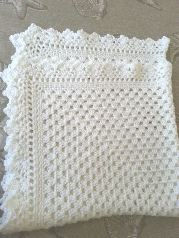 White crochet christening baptism baby blanket with fancy edge ...
