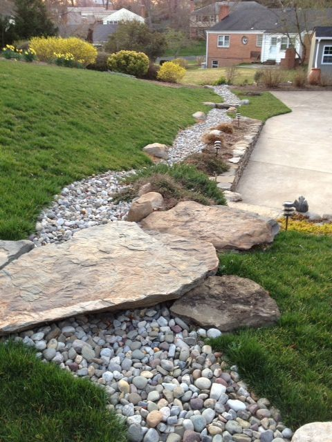 25 Gorgeous Dry Creek Bed Design Ideas - Style Estate -Stone bridge and stairs across a dry riverbed