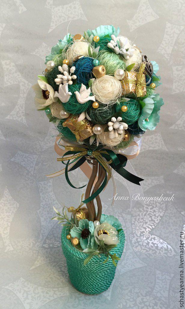 Купить Мини Дерево Счастья Изумрудная свадьба - свадьба, свадебный подарок, подарок, Декор