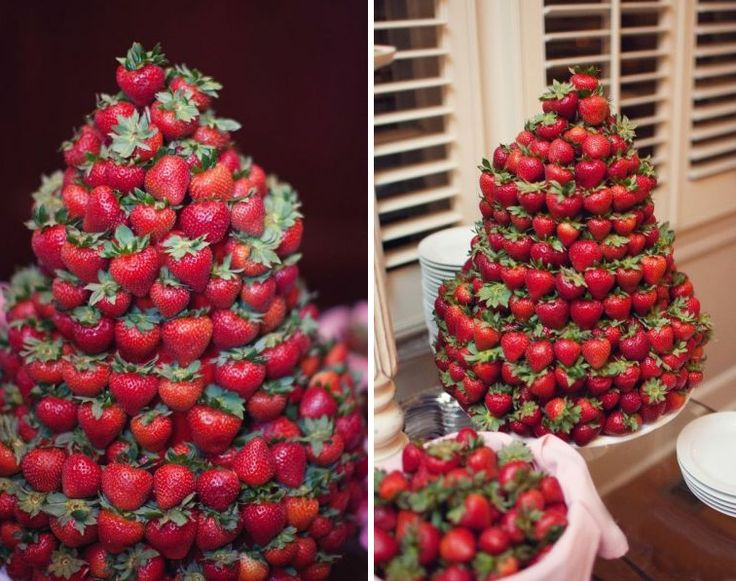 Strawberries stacked in the form of a cake. This would be an idea for my wedding cake, though I would hollow them out and put that yummy cheesecake filling in them..... Have to keep in mind that some people are allergic to or just don't like strawberries!