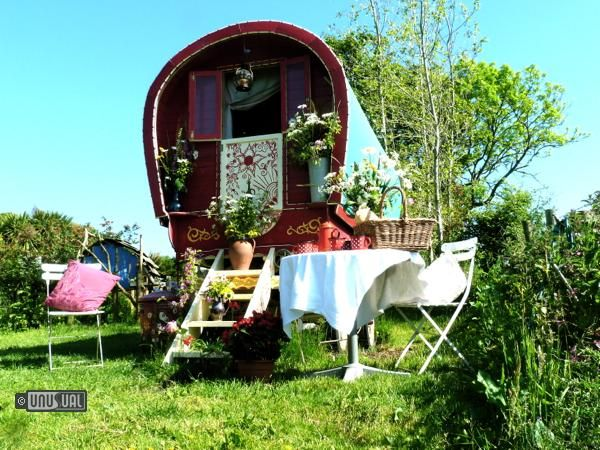 Beautiful Gypsy Caravan accommodation on the unspoilt Lizard Peninsula in Cornwall - not a hotel, but I'd still like to stay there.