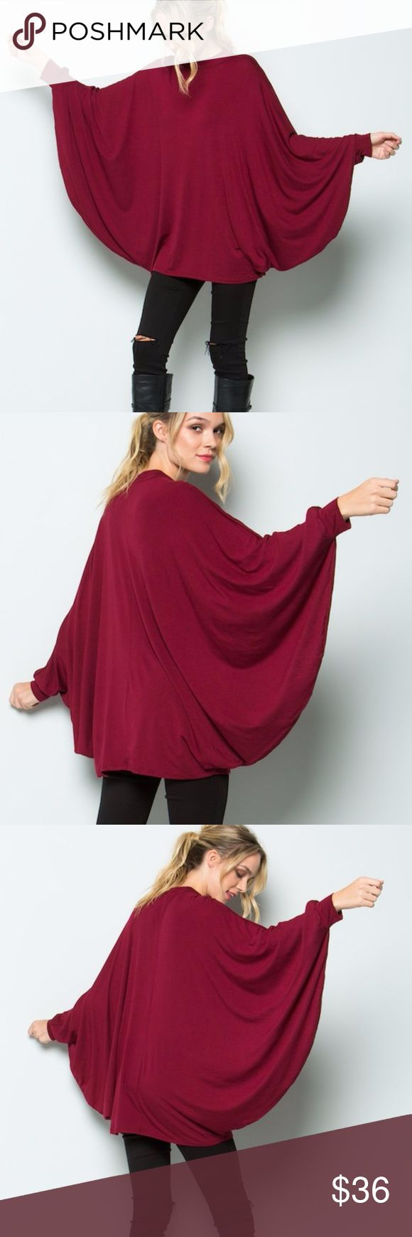 Burgundy Wide Kimono Batwing Slv Jersey Tunic Top Comfy and trendy loose fit jersey tunic shirt with long wide batwing sleeves. Made of soft stretchy fabric. 95% Rayon 5% Spandex. Made in USA. Brand New factory direct.  Size XS 0/2: Bust 31-32 Waist 23-24 Hips 33-34 Size S 2/4: Bust 33-34 Waist 25-26 Hips 35-36 Size M 6/8: Bust 35-36 Waist 27-28 Hips 37-38 Size L 10/12: Bust 37-38 Waist 29-30 Hips 39-40 Size XL 12/ 14: Bust 39-40 Waist 31-32 Hips 41-42 Tops Tunics
