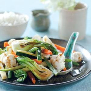Steamed Asian Vegetables - Healthy side dish | This recipe uses two bamboo steamer baskets so vegetables can cook more quickly; if deeply stacked, vegetables may need to be rotated during cooking. This side dish is packed with healthy vitamins. It makes a wholesome meal served with steamed rice.