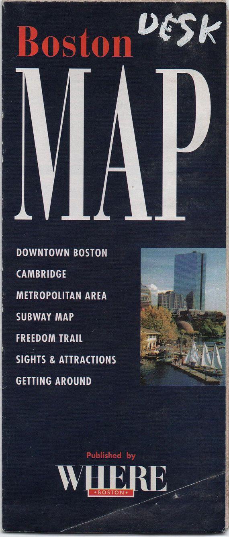 Cambridge Subway Map.Boston Massachusetts Map C1980s Fair Shape Vintage Downtown