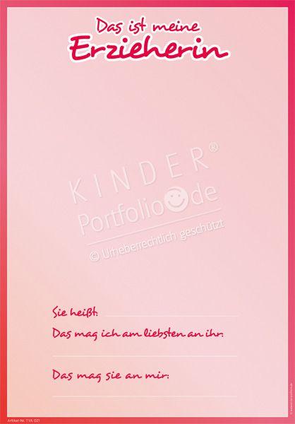 """Kindergarten Portfolio Vorlage """"Das ist meine Erzieherin"""""""