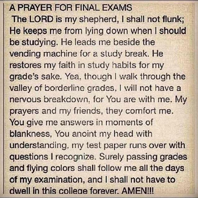 A Prayer For Final Exams!