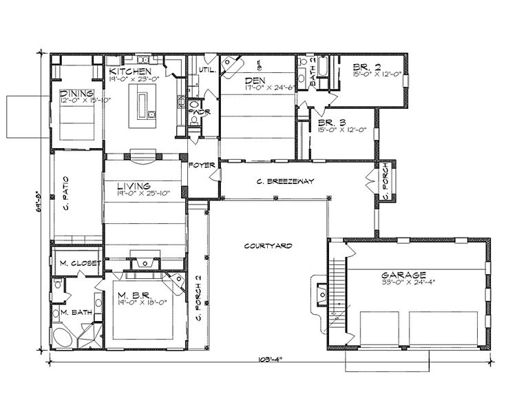 Floor plan image of la hacienda house plan the house for Hacienda floor plans with courtyard