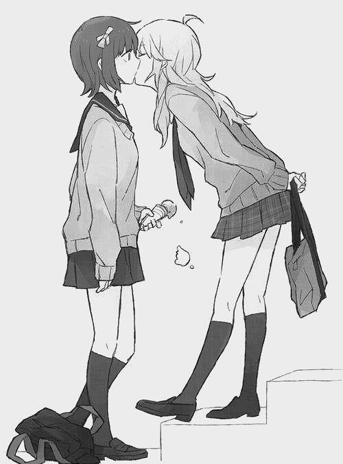 Yuri, shoujo ai, anime girls, kiss. Edited colour removal and cropped slightly. It's a lovely picture, so if you know the artist, let me know and provide proof!