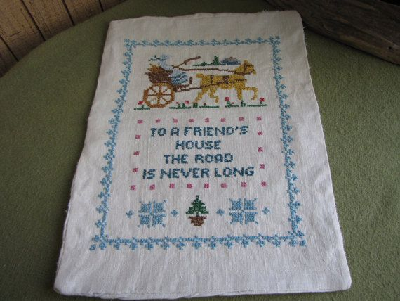 Cross Stitch Pillow Case Small Pillow Case to a by LazyYVintage