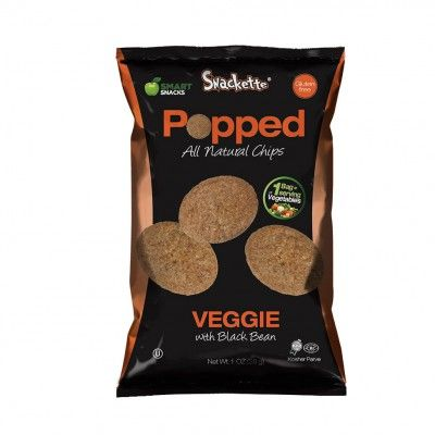 SNACKETTE POPPED chips is an all natural, gluten-free snack made with a blend of black bean, potato, and rice which makes it not only healthy, but a delicious snack! #glutenfree #snacks #chips #vegan
