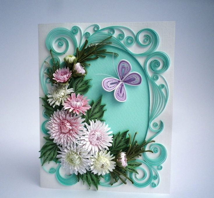 Открытка цветы из квиллинга