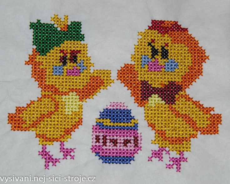 Křížková výšivka - kuřata