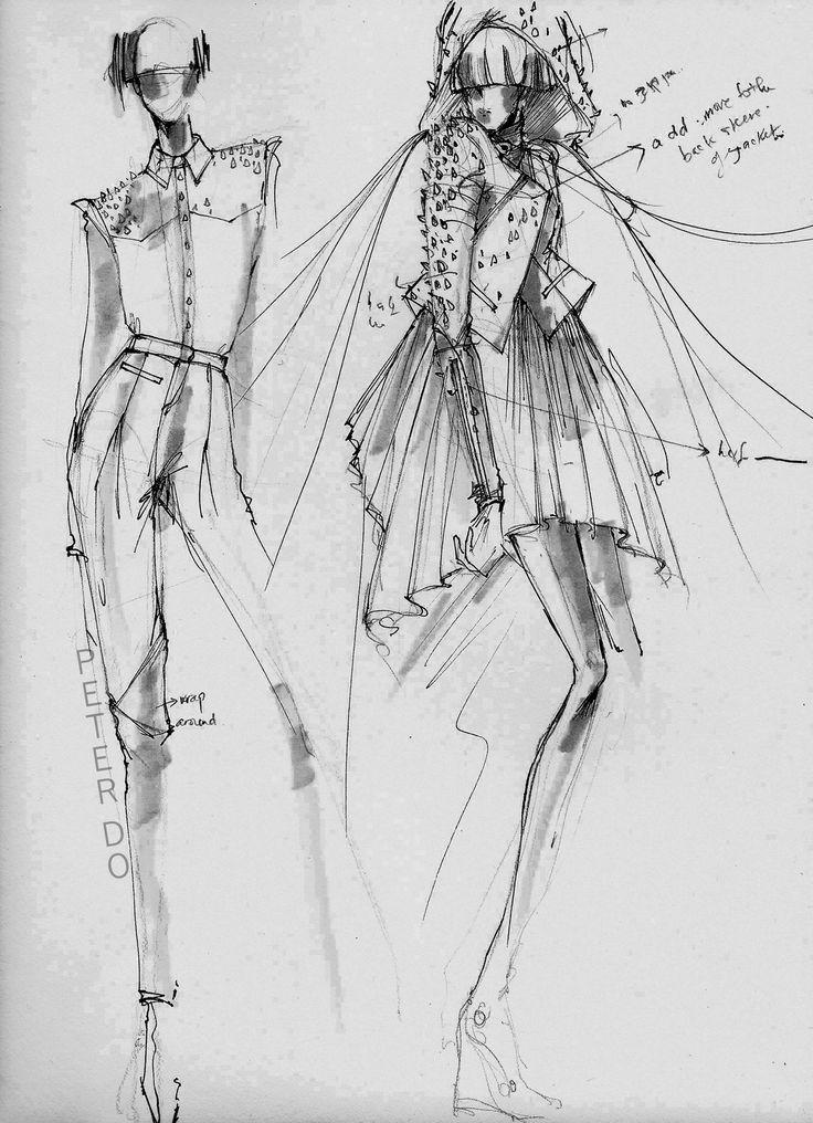 fashion design drawings - fashion sketchbook illustrations // Peter Do