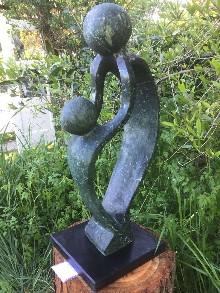 #71-263 'Bonding Moment' by Paul Masivikeni - Green Opalstone 80cmh x30w x 30 - $850