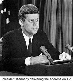 John F. Kennedy's speech to the American people about the buildup of Soviet Missiles in Cuba. Oct. 22, 1962.