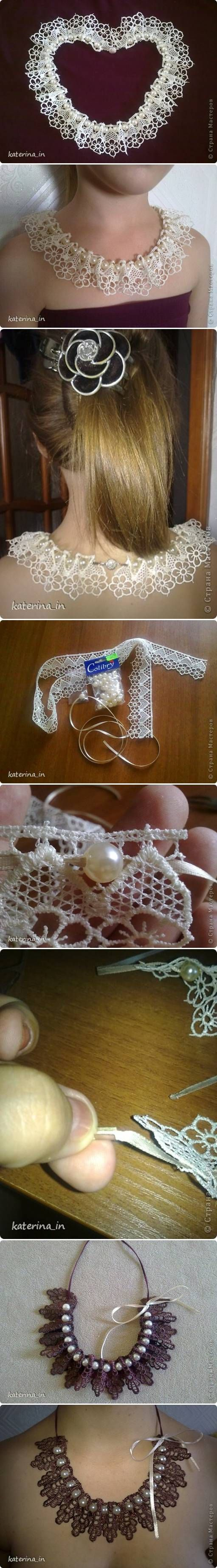 DIY Sew Lace Beads Collar