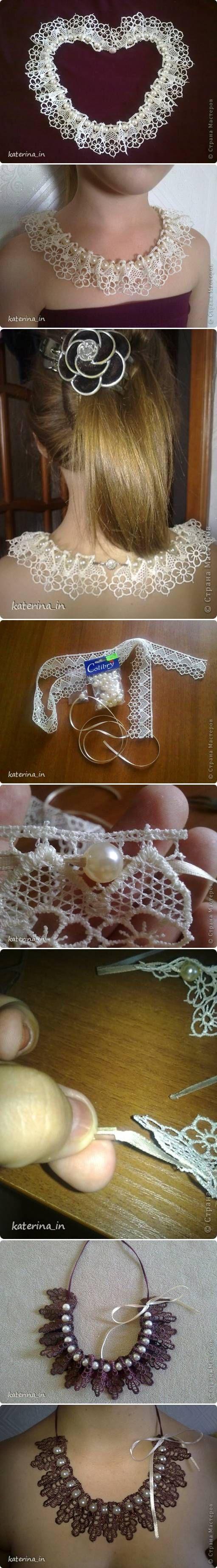 DIY Sew Lace Beads Collar