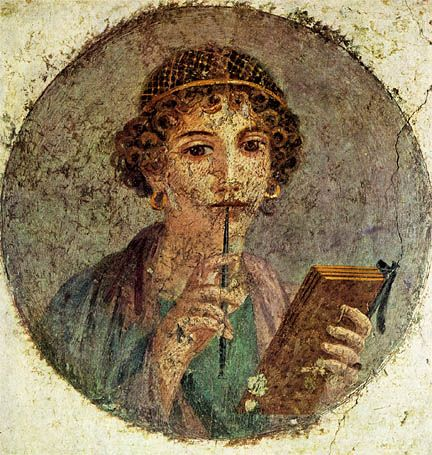 """Young woman holding a stylus and a booklet of wax tablets, Imperial Roman Fourth Style wall painting, """"Sappho"""" from house in Pompeii (source)"""