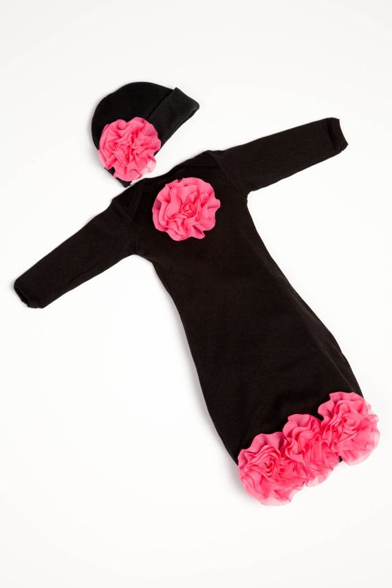 Super Cute Little Girls Outfit!   Newborn Infant Layette Black Baby  Gown with Hot Pink Chiffon Flowers