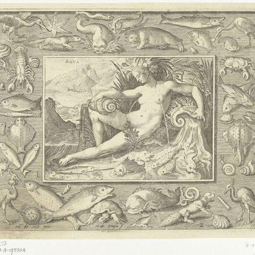 Element water als vrouw bij bron met vissen, Nicolaes de Bruyn, after Maerten de Vos, 1581 - 1656 - Rijksmuseum