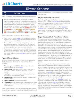 Rhyme Scheme   Definition & Examples   LitCharts - A concise definition of Rhyme Scheme along with usage tips, an expanded explanation, and lots of examples.