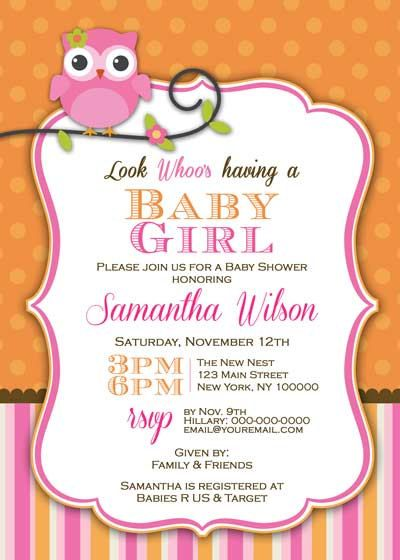 Baby Shower Invitation - Baby Owl for Girl- DIY Printable - Pink  Orange. $12.50, via Etsy.