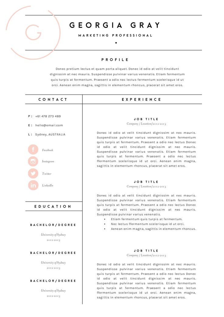 Resume Templats 87 Best Resume Images On Pinterest  Resume Format Resume Ideas