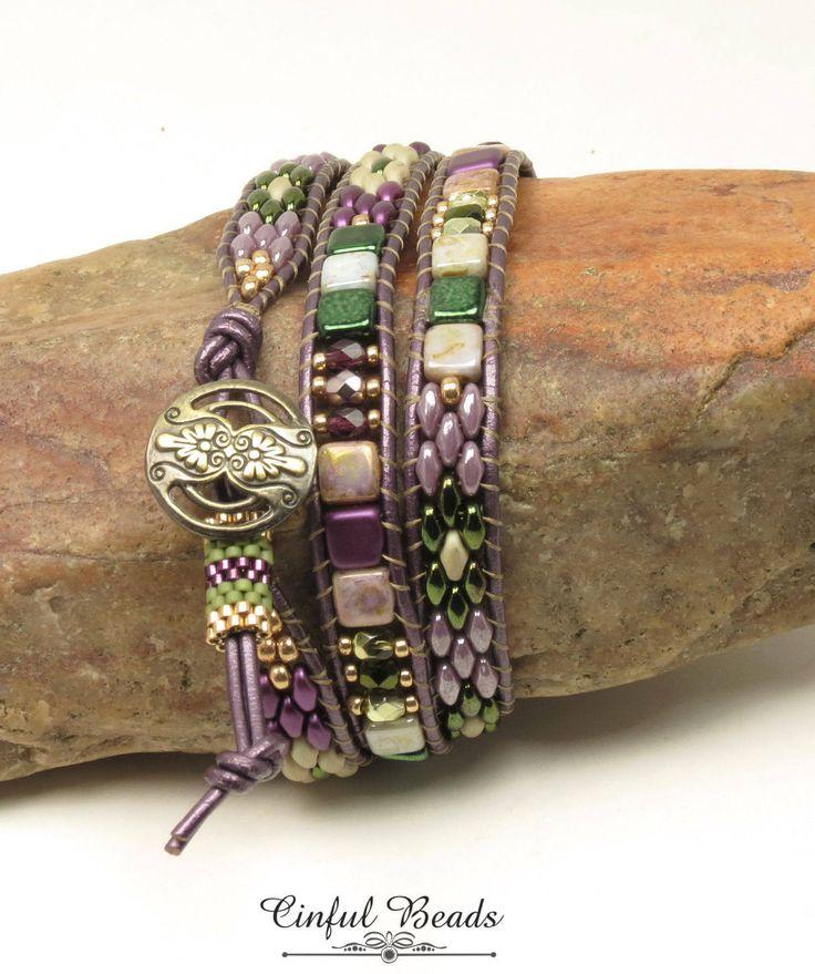 TRIPLE WRAP LEATHER Bracelet-Olive-Amethyst-Metallic Green-Superduo & Czechmate Tile-Boho Leather Wrap -Hippie Bracelet-Wrap Bracelet-(TW17) by CinfulBeadCreations on Etsy