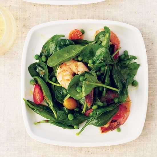 Spinach-and-Shrimp Salad with Chile Dressing   Magnesium-rich foods like spinach may help prevent headaches. A surprisingly delicious touch to this spinach-and-shrimp salad: the warm chile dressing.