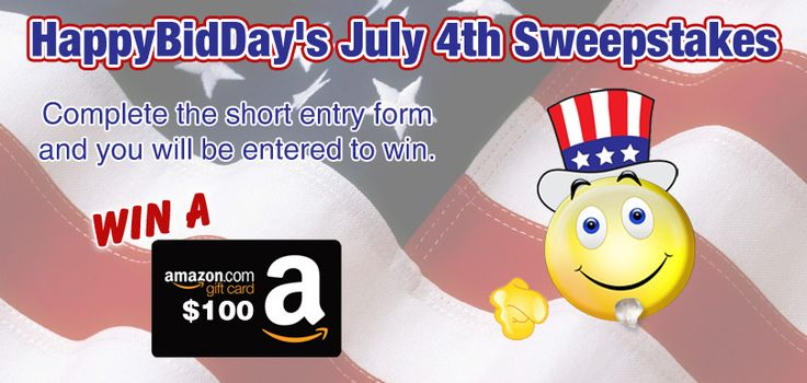 HappyBidDay is giving away $100 Amazon Gift Card! It takes under a minute to enter for FREE!